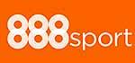 888sport Logo, weiß auf orangem Grund