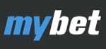 mybet Logo, blau weiß auf schwarz